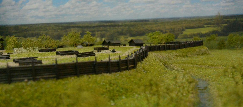 Макет раннесредневекового поселения на городище Унорож
